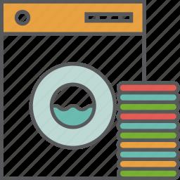 cleaning, clothes, housekeeping, machine, towels, washing, washing machine icon