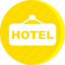 hotel, resort, sign board, travel, vacation, vacation icon icon