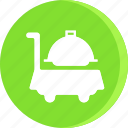 food, hotel, room service, service, serving, trolly, waiter icon icon