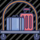 accommodation, baggage, hotel, luggage, suitcase, trolley