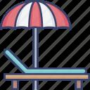 bed, holiday, lounge, parasol, umbrella, vacation icon
