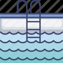 accommodation, facilities, hotel, ladder, pool, swim, water icon