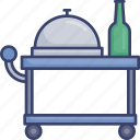 accommodation, food, meal, room, service, trolley, utilities icon