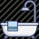 accommodation, bath, bathtub, facilities, hotel, shower, towel icon