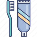 accommodation, brush, hotel, toothbrush, toothpaste, utilities icon
