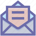 envelope, letter, mail, message, open letter icon