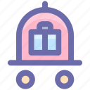 baggage, baggage card, cart, hotel, hotel baggage cart, luggage icon