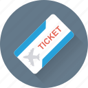 air ticket, airplane, plane ticket, ticket, travelling icon