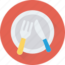 dining, food, fork, knife, plate icon