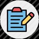 agenda, checklist, index, pencil, task, to do icon