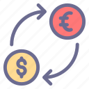 cash, coin, currency, dollar, euro, finance, money exchange icon