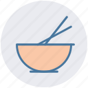bowl, chopsticks, food bowl, food preparation, mixer, whisk icon