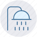bath, bathroom, body care, shower, shower head, water drops icon