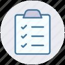 clipboard, hotel menu, menu, order file, paper icon