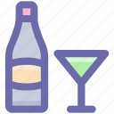 bottle, bottle and glass, drinks, glass, wine, wine glass icon