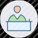 hotel reception, interview, lecture, public speaker, reception, speech icon