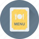 food, cuisine, menu card, menu, menu book icon