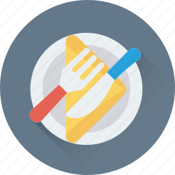 dining, fork, knife, napkin, plate icon