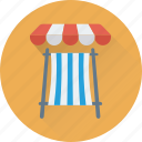 beach, tanning, beach umbrella, deck chair, sunbathe icon