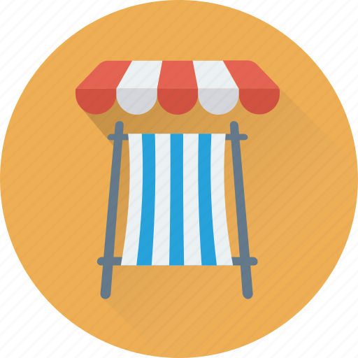 beach, beach umbrella, deck chair, sunbathe, tanning icon