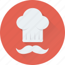 chef, cook, chef hat, moustache, toque icon