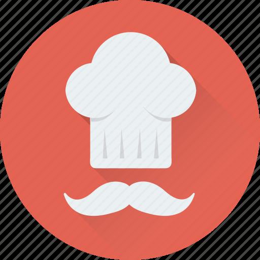 chef, chef hat, cook, moustache, toque icon