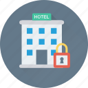 building, lock, hotel, tourism, real estate icon