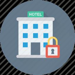 building, hotel, lock, real estate, tourism icon