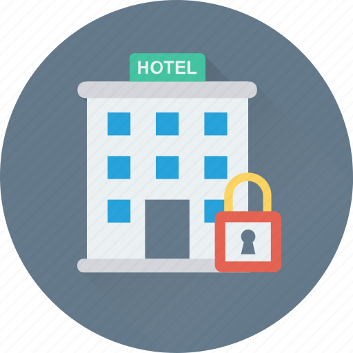 building, hotel, lock, real estate, tourism icon