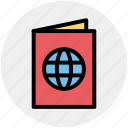 book, document, globe, identification, passport, visa icon