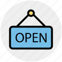 board, frame, hotel, open, open sign, sign icon