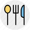dining, flatware, fork, knife, spoon, tableware icon