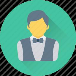 hotel, restaurant, services, waiter, waiting staff icon