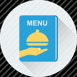 cuisine, food, menu, menu book, menu card icon