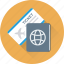 passport, permit, ticket, travel, visa icon