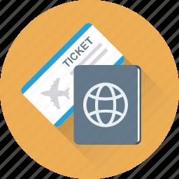 passport, permit, ticket, travel, visa icon