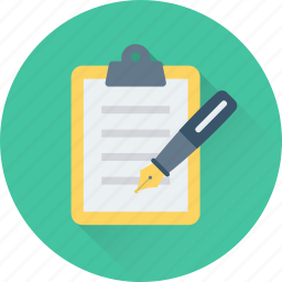 clipboard, notes, pen, signature, writing icon
