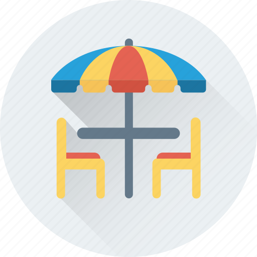 cafe, chairs, dining table, restaurant, table icon