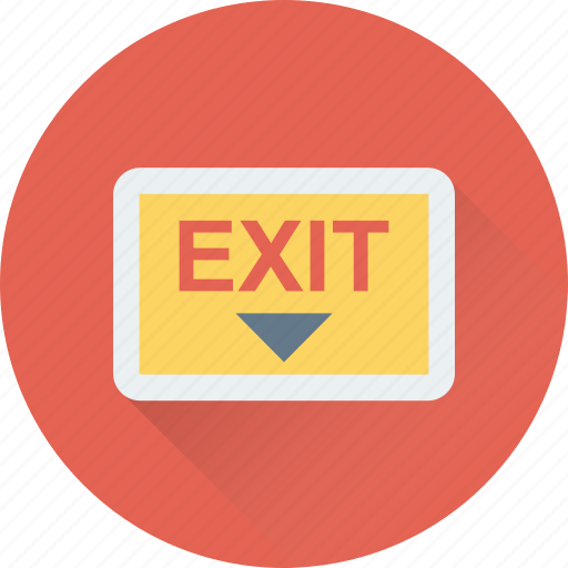 emergency, escape, exit, exit sign, out icon
