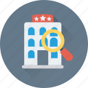 hotel, magnifier, search hotel, tourism, travel icon
