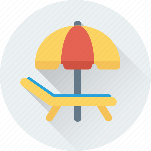 beach, beach umbrella, deck chair, sunbathe, tanning icon
