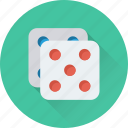 dice, dice cube, gambling, game, rolling dice icon