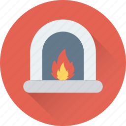 fire, fireplace, heater, heating stove, room stove icon