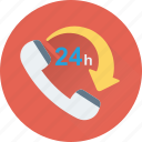 customer service, helpline, hours, services, twenty four icon