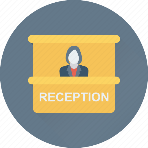 counter, front desk, help, reception, services icon