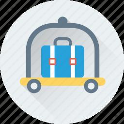 briefcase, cart, hotel trolley, luggage, trolley icon
