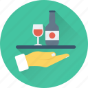 hotel, restaurant, services, waiter, wine icon