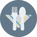 dining, fork, napkin, plate, spoon icon