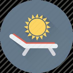 beach, deck chair, sun, sunbathe, tanning icon