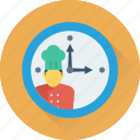 chef, clock, dinner, meal time, time icon